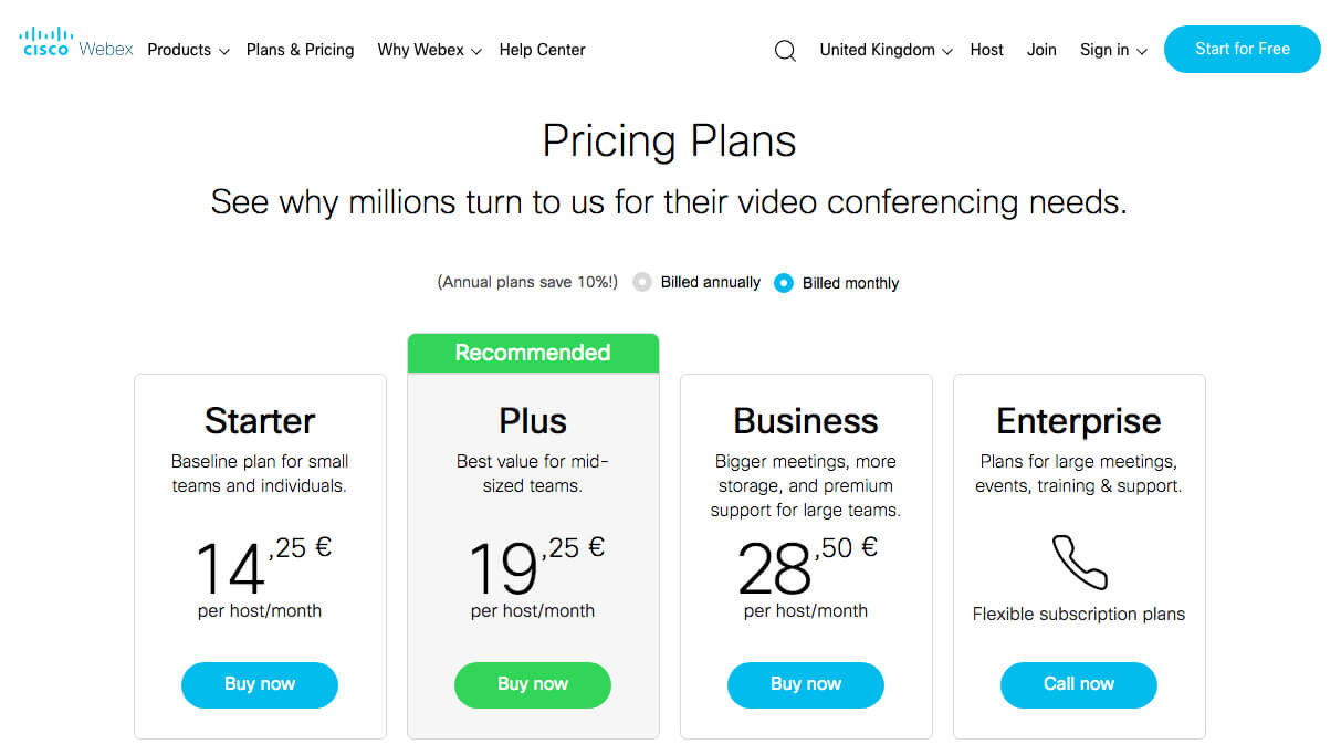 WebEx pricing