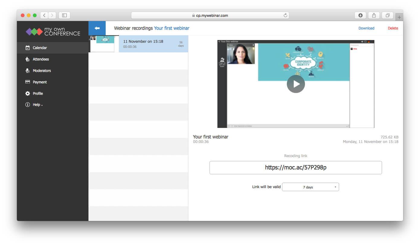Web conferencing recording