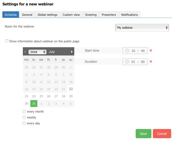 webinar's settings