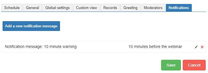 scheduler message notification tab