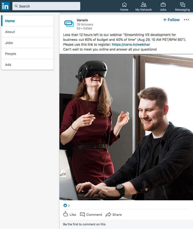 LinkedIn webinar promotion