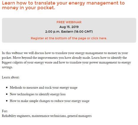 Energy Management Webinar Invitation