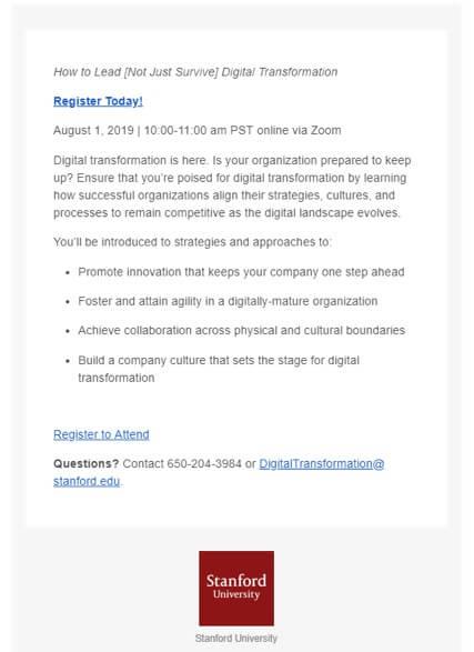 Stanford Webinar Invitation