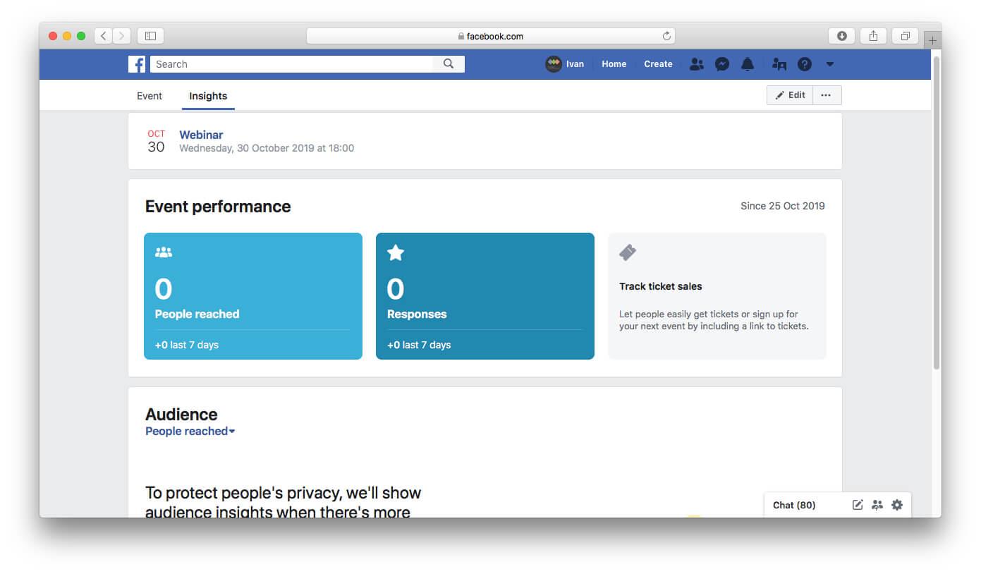 Facebook event statistics