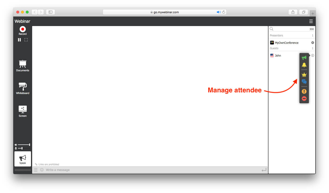 manage attendee