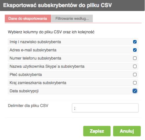 Eksportować w CSV