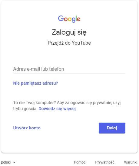 logowanie do transmisji na YouTube