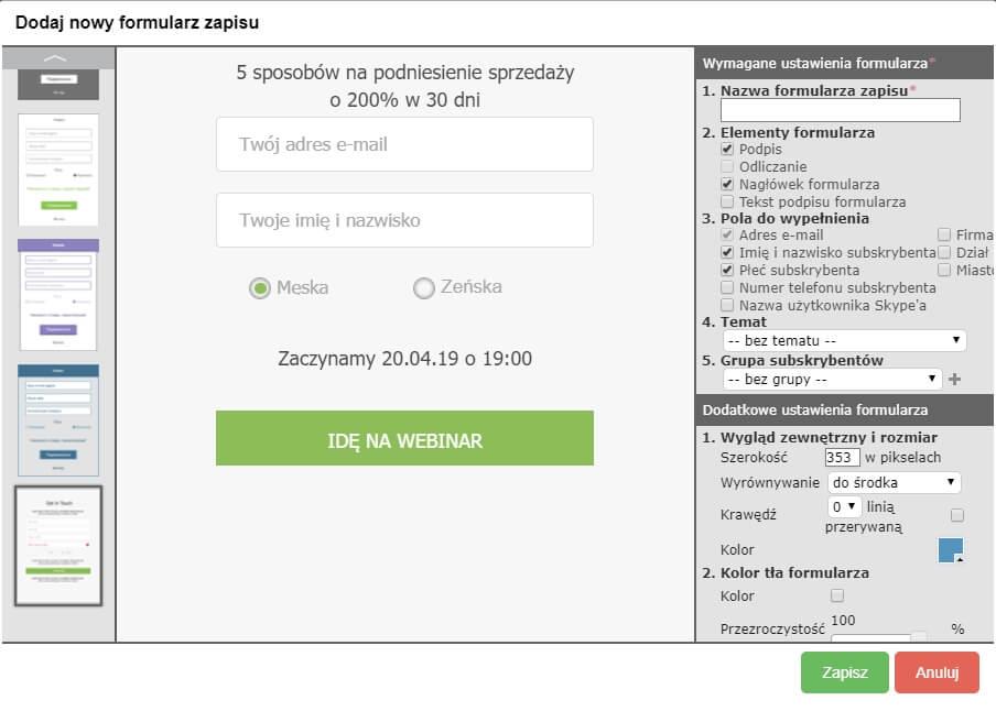 formularz zapisu na webinar