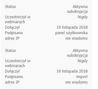 status subskrybenta webinaru