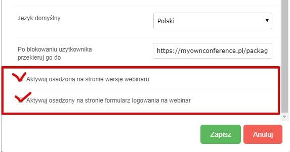osadzić webinar API
