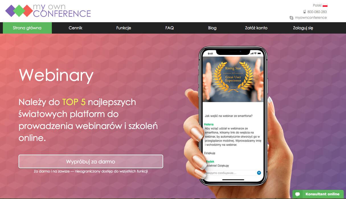 Platforma do webinarów MyOwnConference