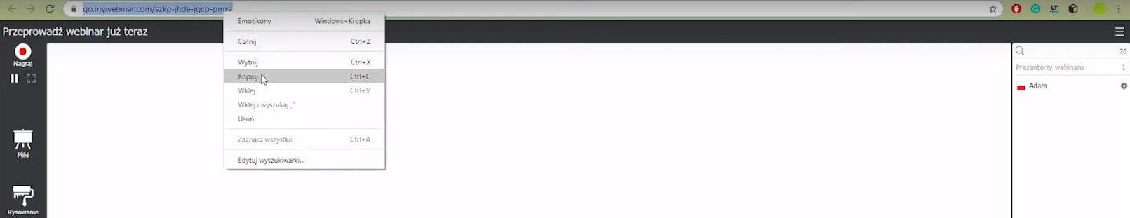 Webinar ad hoc link
